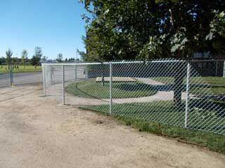 Grey chain link fence